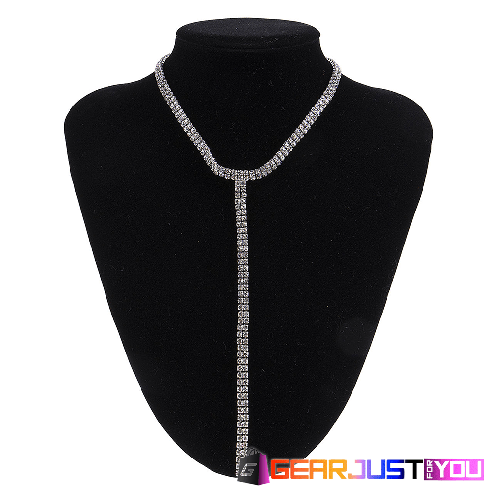 Gorgeous Women's Suede Choker Crystal Long Chain Bib Necklace