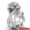 Image of Attractive Women's 925 Sterling Silver Lotus Flower White Topaz Wedding Ring Set - Gear Just For You.com