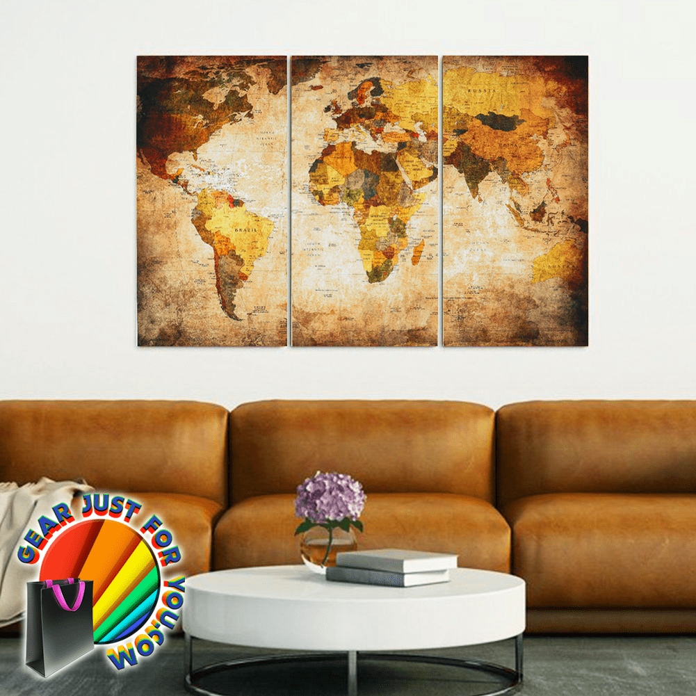 Spectacular Retro World Map Ready To Hang Canvas Wall Art Painting