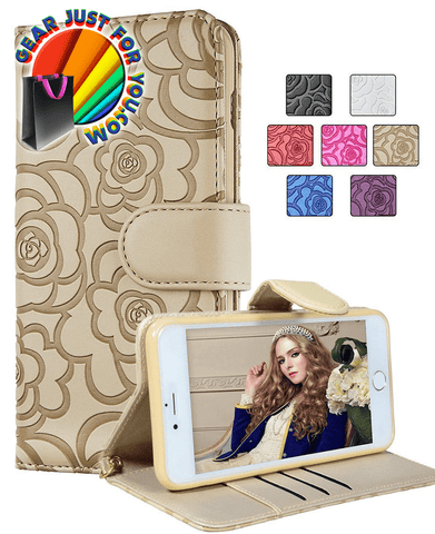 Luxury Rose Magnetic Wallet Leather Case Flip Card Slot for iPhone