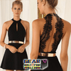Elegant Lace Chiffon Backless Solid Mini Dress