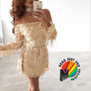 Sparkling Golden Sequins Off-Shoulder Neckline Long Sleeve Mini Dress