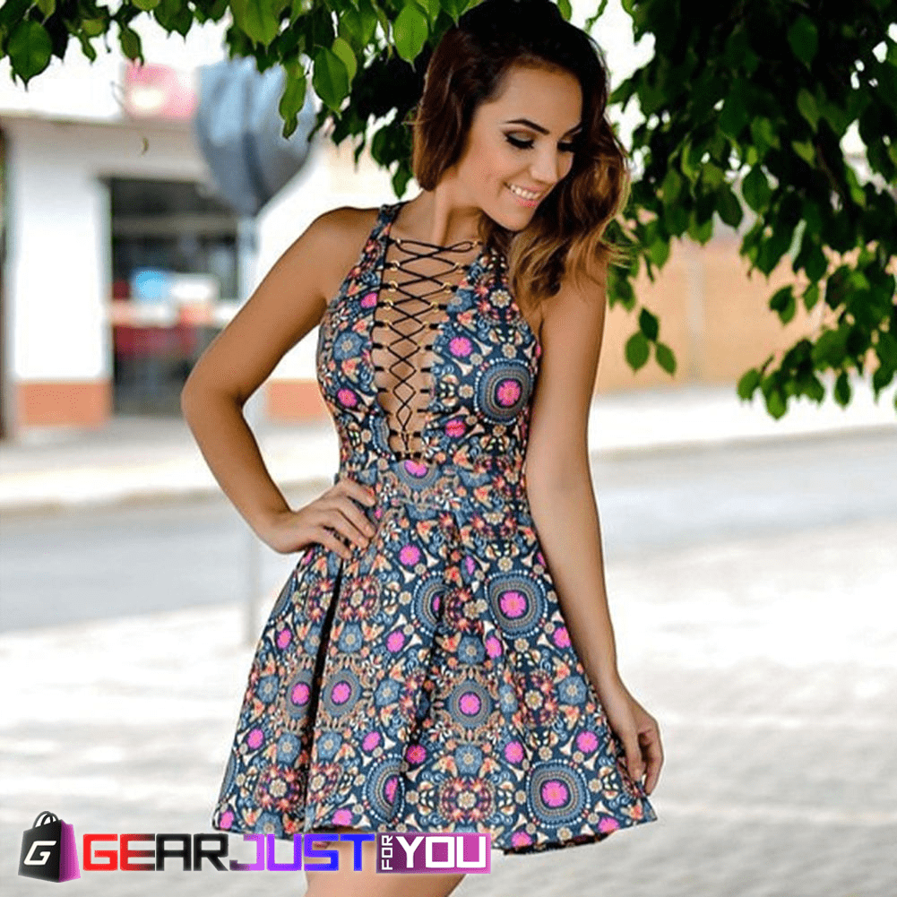 812472bff010 Most Attractive Women s Multicolor Floral Sleeveless Casual Short Summer  Dress