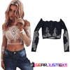 Amazing Floral Lace Crochet Long Sleeve Off-Shoulder Tank Tops