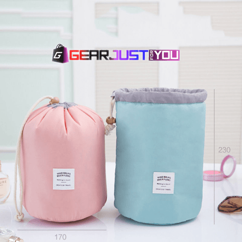 Convenient Carrying Barrel Shaped Cosmetic Travel Storage Pouch