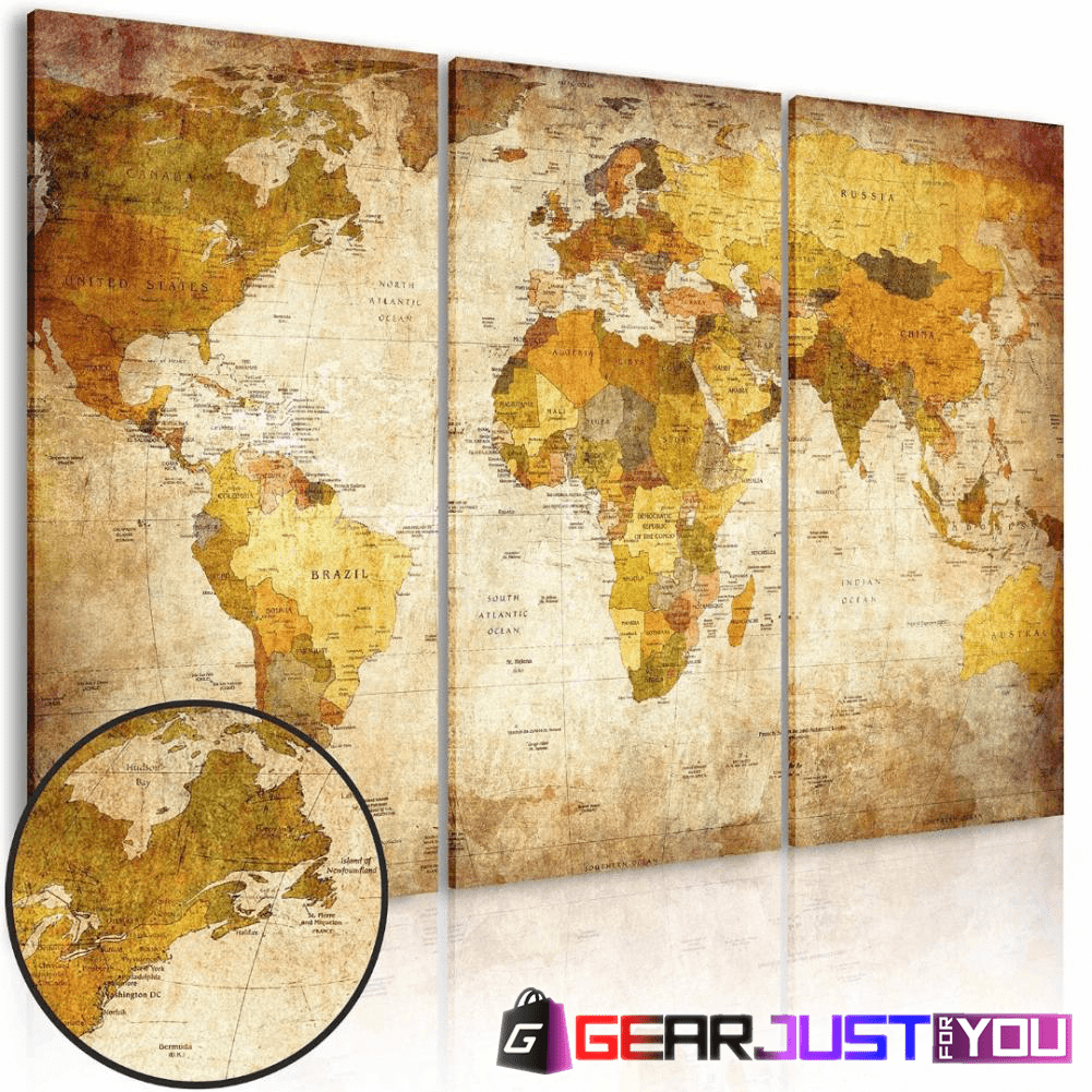 Spectacular Retro World Map Ready to Hang Canvas Wall Art Painting ...