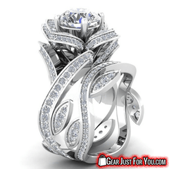 Attractive Women's 925 Sterling Silver Lotus Flower White Topaz Wedding Ring Set