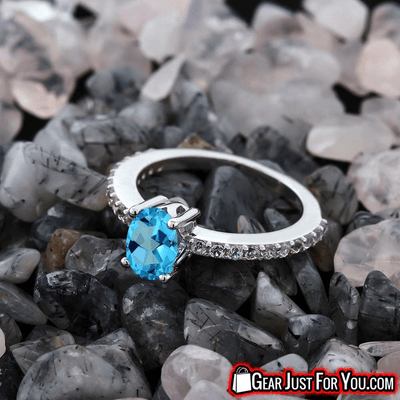 American Blue Solitaire Accent Stones Sterling Silver Ring - Gear Just For You.com