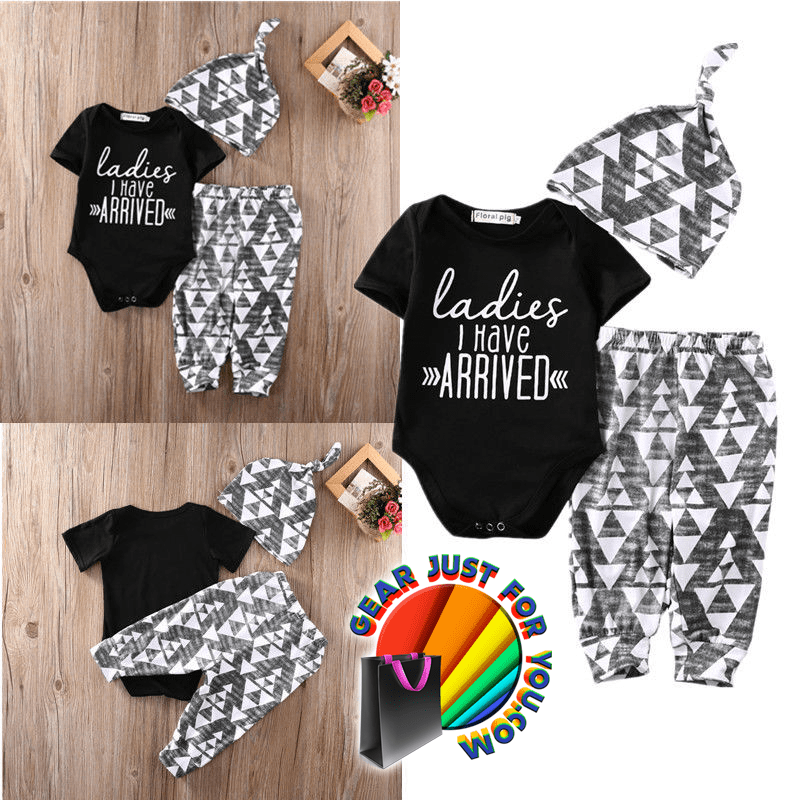 126c203b75fb5 Unique Newborn Infant Baby Boy Cotton Outfit Clothes Set With Romper Pants  Legging Hat - Gear