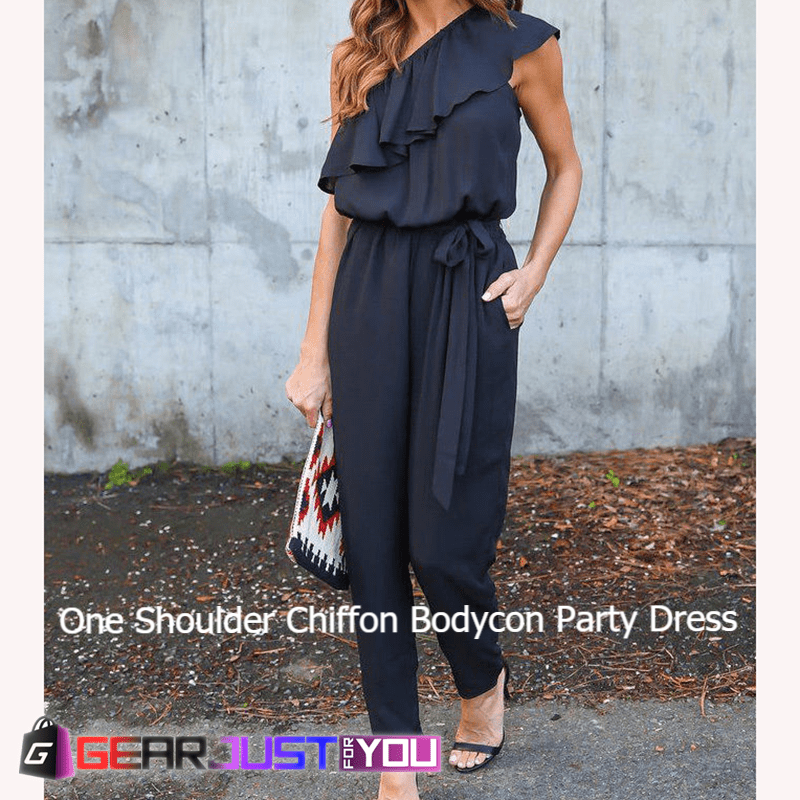 0359c6c1acd8 Awesome Falbala Bodycon One Shoulder Chiffon Clubwear Party Jumpsuit - GEAR  JUST FOR YOU