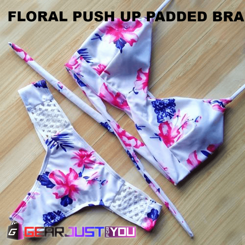 3e794ae0a277a Amazing Floral Push Up Padded Bra Women s Swimwear Triangle Bikini Set - Gear  Just For You