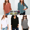 Bright Chromatic V-Neck Comfortable Loose Fit Top Casual Summer Blouse
