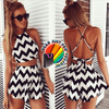 Fashionable Stunning Curves Striped Bodycon Party Club Wear Jumpsuit