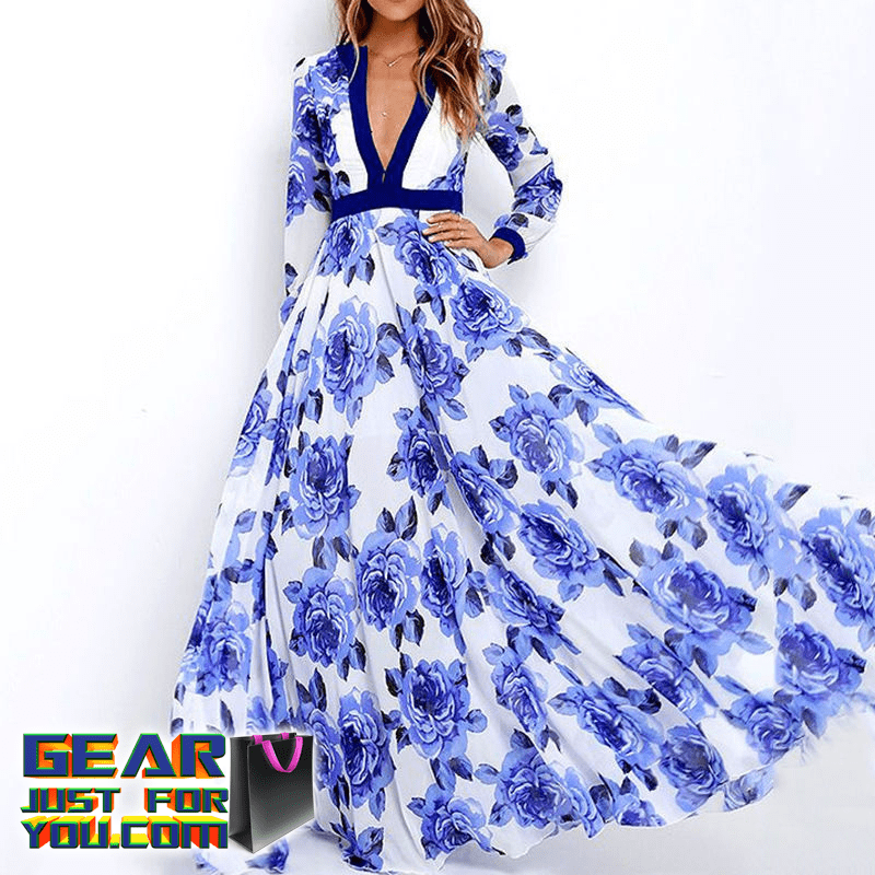 bdd6d6883e Charming Boho Floral Long Beach Party Dress - GEAR JUST FOR YOU