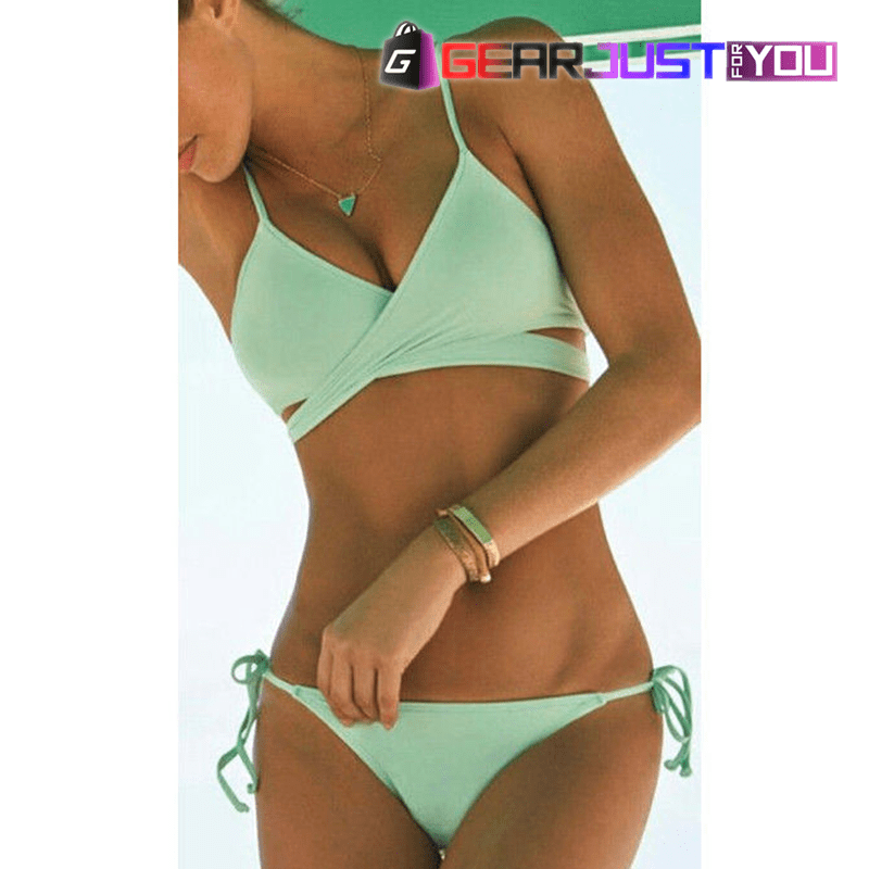 f5593b76195c1 ... GEAR JUST FOR YOU. Sexy Push Up Padded Bandage Triangle Women s Bikini  Swimsuit Set