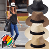 Image of Amazing Curled Brim Strip Summer Beach Unisex Sun Hat - Gear Just For You.com