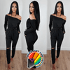 Unique Slope Shoulder Cotton Knitted Full Sleeve Bodyfit Jumpsuit