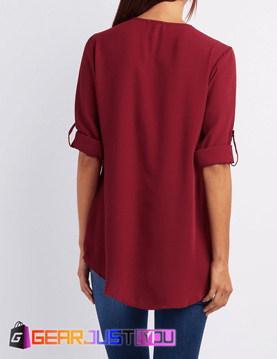 Solid Casual Loose Chiffon Zipper T-Shirt