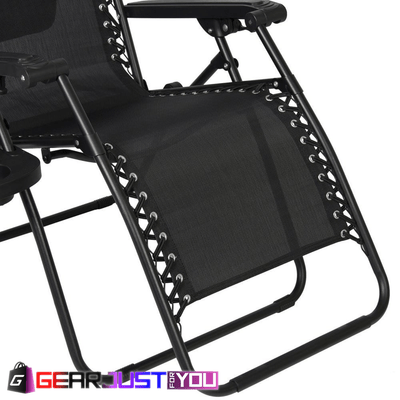 2Pcs Comfortable Zero Gravity Detachable Cup Holder Outdoor Canopy Folding Chair - Gear Just For You.com