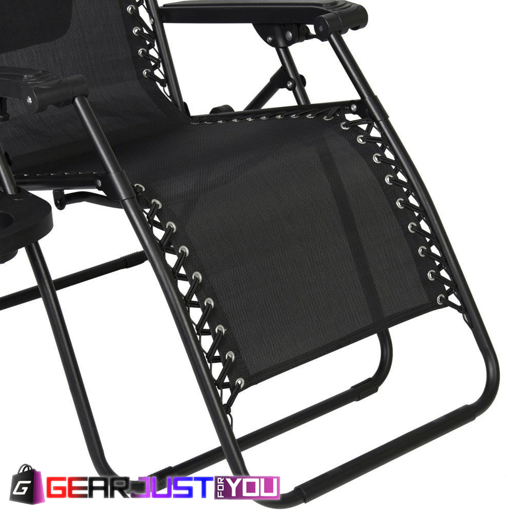 2Pcs Comfortable Zero Gravity Detachable Cup Holder Outdoor Canopy Folding  Chair