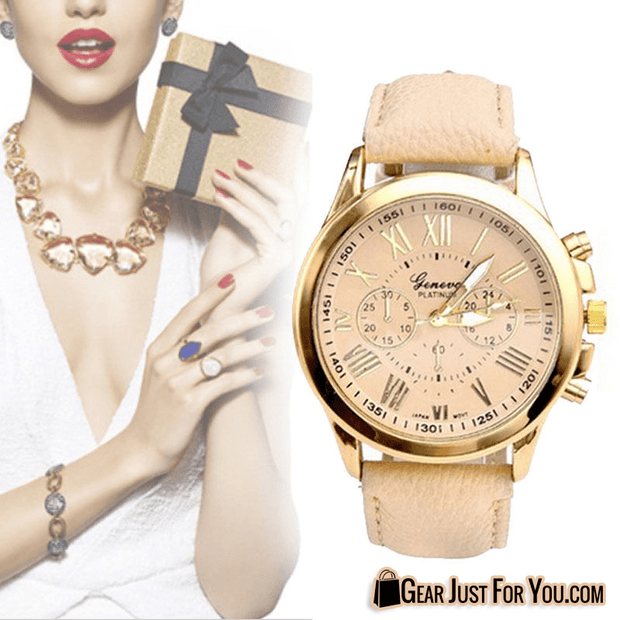 Elegant Stainless Steel Beige Colored Leather Strap Analog Wrist Watch Quartz For Women - Gear Just For You.com