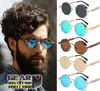 Vintage Steampunk Polarized Round Mirrored Sunglasses