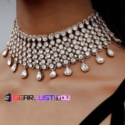 Gorgeous Crystal Chocker Chunky Chain Pendant Necklace