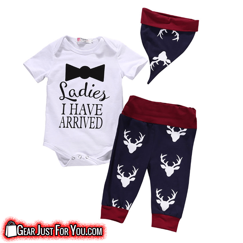 a51612fb97734 Lovely Newborn Unisex Baby Tops Romper Pants Hat 3 Pieces Set Outfit - Gear  Just For
