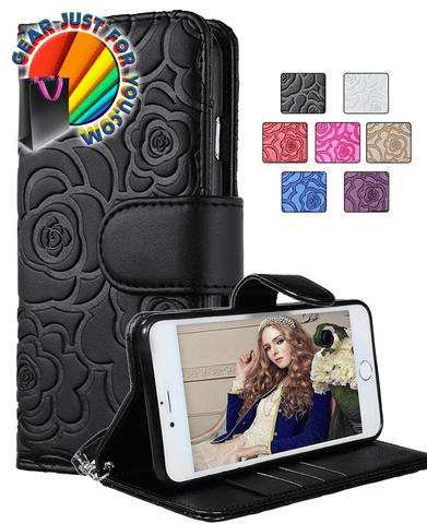 Image of Luxury Rose Magnetic Wallet Leather Case Flip Card Slot for iPhone