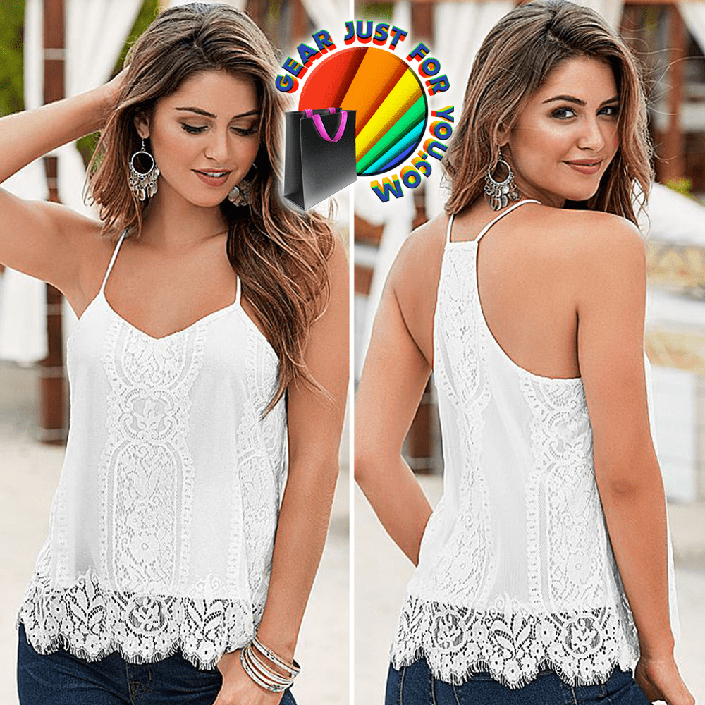 Most Comfortable Crochet Lace Hem Casual Sleeveless Tops - Gear Just For You.com