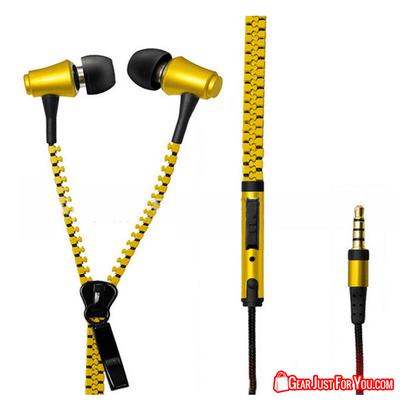 Deep Bass Luminous Universal 3.5mm Jack Zipper Ear-buds Earphones with Mic - Gear Just For You.com