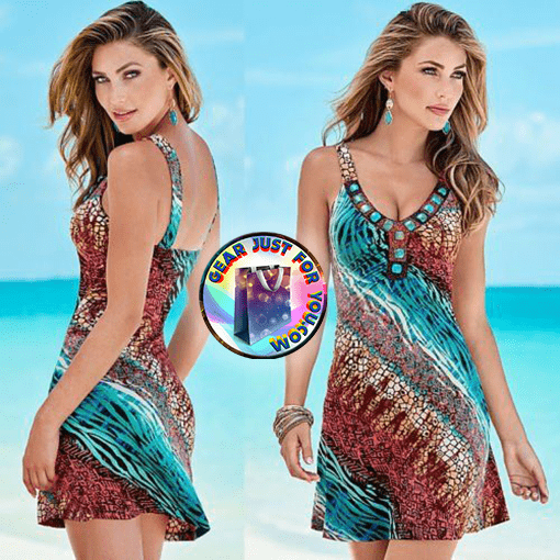 450a4801254 Sexy Women Colorful Tribal Printed Pattern Sleeveless Casual Beach Wear - Gear  Just For You.