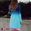 Fashionable Gradient Color Casual Women's Loose Mini Spaghetti Summer Dress