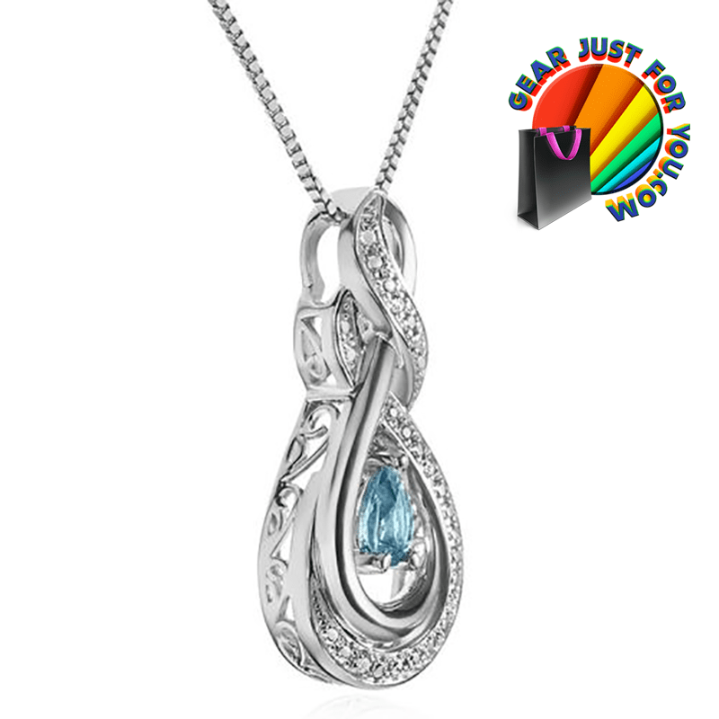 Fashionable Sterling Silver Natural Blue Topaz Diamond Accent Pendant Necklace