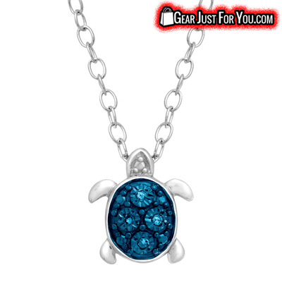 Teeny Tiny Blue Diamonds Silver Sterling Turtle pendant Necklace - Gear Just For You.com