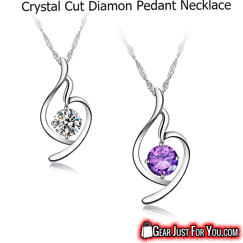 Best Selling Anti-Allergic Ultra-Fine Crystal Cut Diamond Sterling Silver WAVE Chain Pendant Necklace - Gear Just For You.com