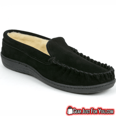 Ultra Comfortable Men's Genuine Suede Leather Semi Moccasin Slippers