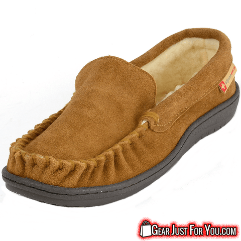 Ultra Comfortable Men's Genuine Suede Leather Semi Moccasin Slippers - Gear Just For You.com