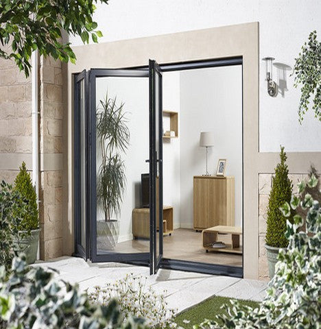 Lpd External 2.4M Aluvu (8Ft) Aluminium Bi-Fold Door Set In A Grey Finish (Left Hand Opening) - External Doors