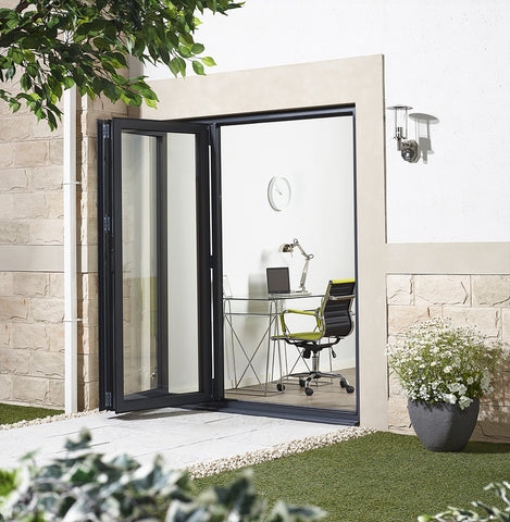 Lpd External 1.8M Aluvu (6Ft) Aluminium Bi-Fold Door Set In A Grey Finish (Left Hand Opening) - External Doors