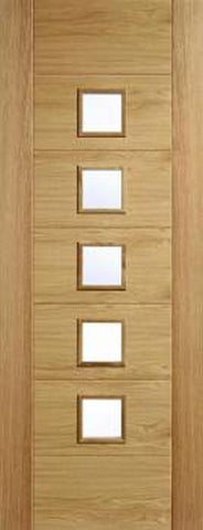 Lpd Internal Oak Carini Unfinished 5 Light Clear Glazed Door - Internal Doors
