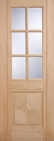 Lpd Internal Oak Barcelona 1 Panel 6 Glass Clear Bevelled Pre-Finished Door - Internal Doors