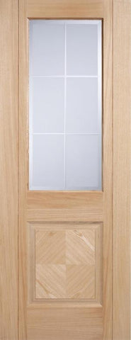 Lpd Internal Oak Valencia 1 Panel 1 Light Frosted Bevelled Pre-Finished Door - Internal Doors
