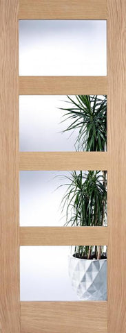 Lpd Internal Oak Contemporary 4 Light Clear Glazed Door - Internal Doors