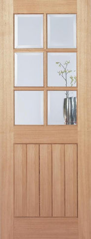 Lpd Internal Oak Mexicano 6 Light Clear Bevelled Glass Pre-Finished Door - Internal Doors