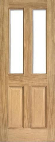 Lpd Internal Oak Richmond Raised Mouldings With Clear Bevelled Glass Door - Internal Doors