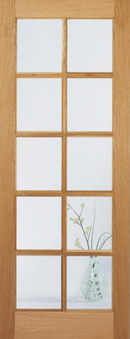 Lpd Internal Oak Sa 10 Light With Clear Glass Door - Internal Doors
