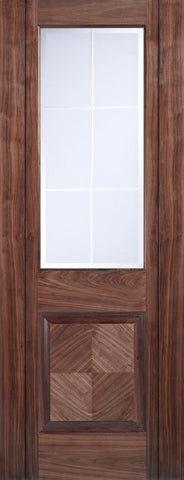 Lpd Internal Walnut Valencia 1 Panel 1 Light Frosted Bevelled Pre-Finished Door - Internal Doors