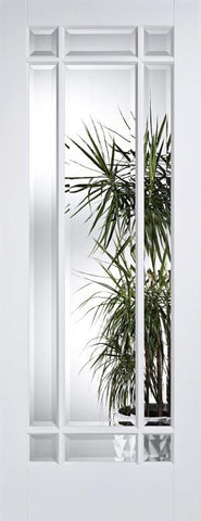Lpd Internal Manhattan Clear Bevelled Glass White Prime Plus Door - Internal Doors