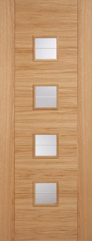 Lpd Internal Oak Vancouver 4 Light Clear Brilliant Cut Door - Internal Doors